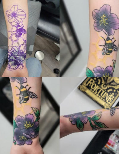 flower and bee tattoo